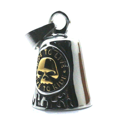 "Men Boy 316L Stainlesss Steel Cool ""RIDE TO LIVE, LIVE TO RIDE"" Flaming Golden Biker Skull Ghost Rider Pendant Personal Design - Mirage Novelty World"