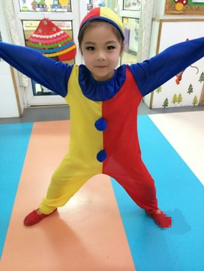 Children Kids Baby Boys Clown Cosplay Costume Jumpsuits & Rompers+Hat+Nose Performance Family Party - Mirage Novelty World