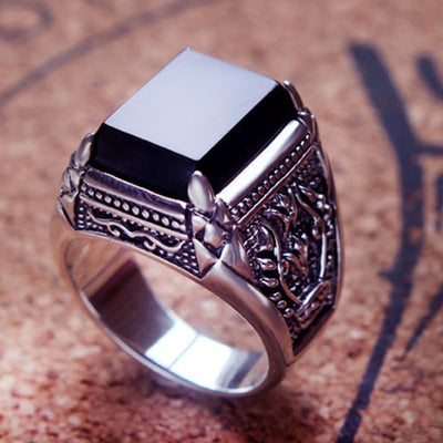 Real 925 Silver Black Zircon Ring For Men Female Engraved Flower Men Fashion Sterling Thai Silver Jewelry Synthetic Onyx - Mirage Novelty World