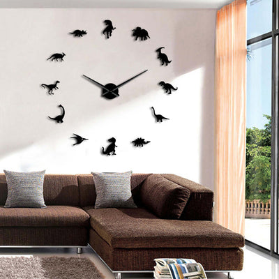 Jurassic Dinosaurs Wall Art T-Rex DIY Large Giant Frameless Wall Clock Room Decoration - Mirage Novelty World