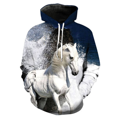 Men / Women 3d Hoodies Print white horse animal pattern Hooded Sweatshirt - Mirage Novelty World