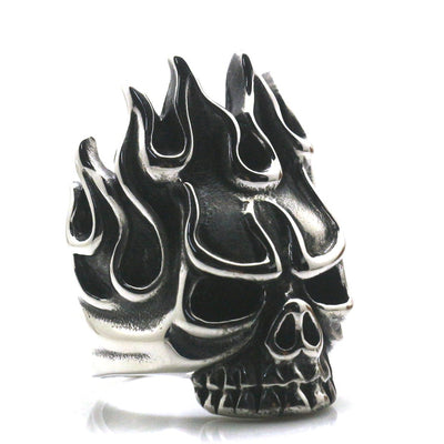 Cool Biker Rock Flame Hot Skull 316L Stainless Steel Ring - Mirage Novelty World