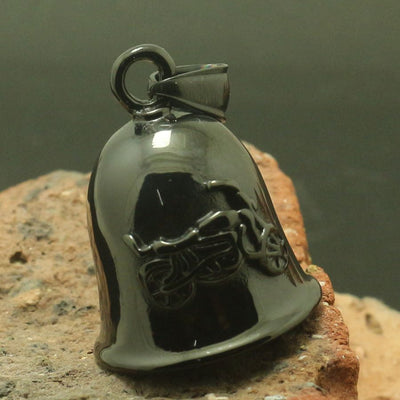 Men 316L Stainless Polishing Black Motorcycle Bell Pendant For Rider - Mirage Novelty World