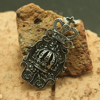 316L Stainless Steel Cool Black Stone Crown Pendant - Mirage Novelty World