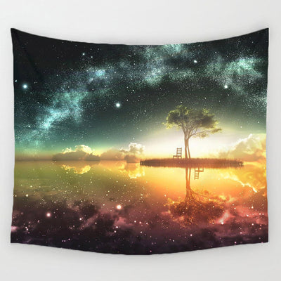 150*130  Night Scenic Tapestry Wall Hanging Decor Star Plant Printed Carpet Home Decor - Mirage Novelty World