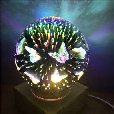 Wood colorful 3d Light Magic Projector ball 3d Lamp USB power supply bedroom atmosphere night light - Mirage Novelty World