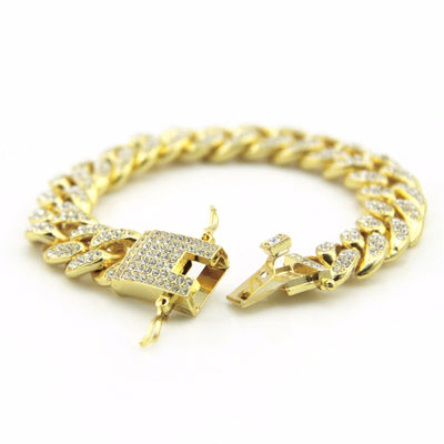 Hip Hop Bling Iced Out Full AAA Crystal Pave Men's Bracelet Gold Silver Color Miami Cuban Link Chain Bracelets - Mirage Novelty World