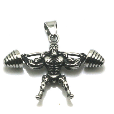 Mens Boys 316L Stainless Steel Punk Gothic Silver Muscle Man Barbell Pendant - Mirage Novelty World