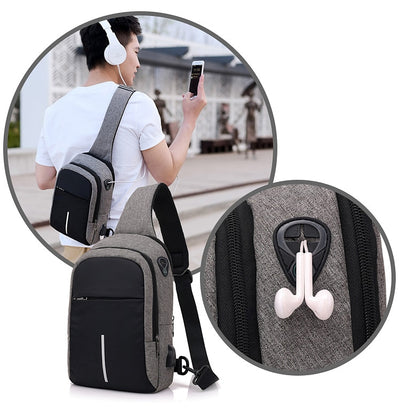 Men Chest Bags USB Charging Waterproof Oxford Crossbody Bags Small Sling Single Shoulder Bags Travel Chest Pack Male - Mirage Novelty World