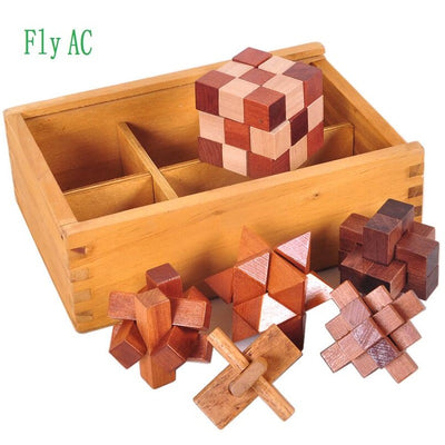 6 pcs/set 3D handmade vintage Ming lock Luban lock wooden toys adults puzzle children adult - Mirage Novelty World