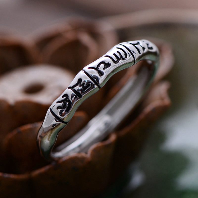 33a6d3775883e Tibetan Buddha Jewelry 925 Sterling Silver Tail Rings Simple Six Words Om  Mani Padme Hum Adjustable Size