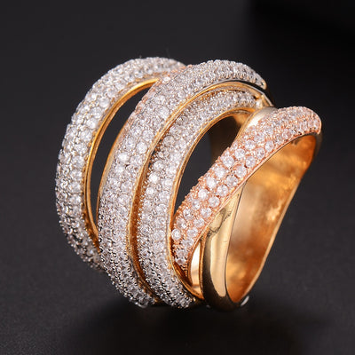 Monaco Designer Luxury Twist Lines Geometry Cubic Zironium Engagement Dubai Naija Bridal Finger Rings Jewelry Addiction - Mirage Novelty World