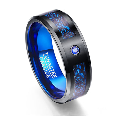 Foreign Trade Carbon Fiber Scrub Blue Zircon Men Rings 100% Tungsten Carbide Black Dragon - Mirage Novelty World