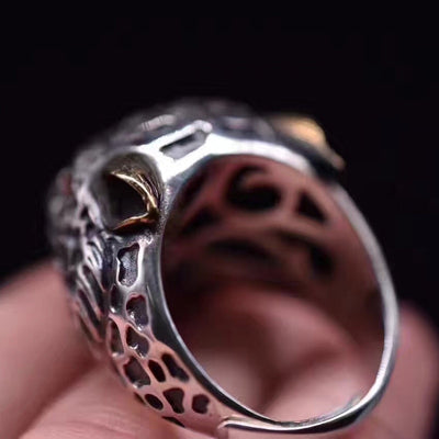 S925 silver jewelry  natural  ring inlaid dominee ring retro southern red leopard head ring - Mirage Novelty World