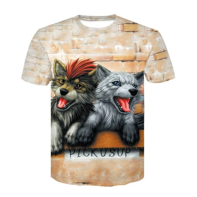 Harajuku Wolf 3D Print Cool T-shirt Men/Women - Mirage Novelty World