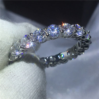 Handmade Finger ring 925 sterling Silver AAAAA Zircon Sona cz Engagement Wedding Band Rings - Mirage Novelty World