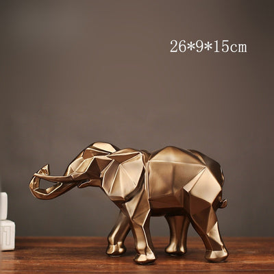 Luxury Modern Abstract Golden Elephant Statue Resin Ornament Home Decoration - Mirage Novelty World
