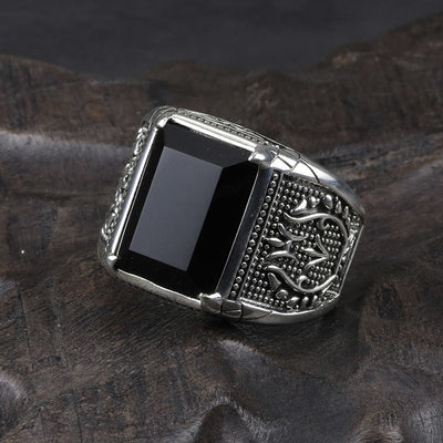 Real Pure 925 Sterling Silver Jewelry Black Obsidian Natural Stone Rings Mens Punk Rock Fashion - Mirage Novelty World