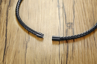 Men's Lava Rock Braided Leather Choker Necklace Men Boho Hippie Jewelry Oil Diffuser Surf Necklaces in Black - Mirage Novelty World