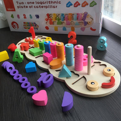 Wooden Montessori Materials Learning To Count Numbers Matching Digital Shape Match Early Education Teaching Math Toys - Mirage Novelty World