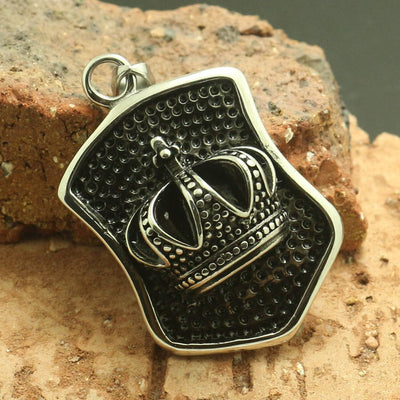 Mens Boy 316L Stainless Steel Cool 3D Design Silver Crown Pendant - Mirage Novelty World