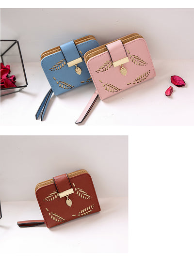 design women's purse zipper Leather ladies wallet women luxury brand Small female wallet Hollow Leaves - Mirage Novelty World