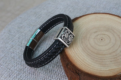 viking Cowhide bracelet men Black Braided Leather Cuff Genuine Leather Bangles  norse odin's horse jewelry - Mirage Novelty World