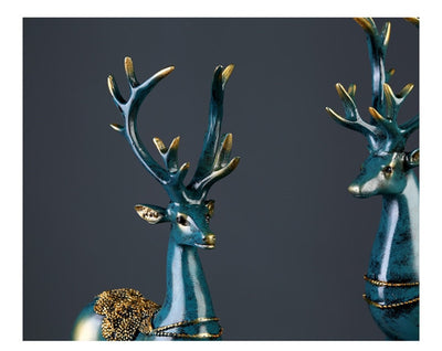 European style 2 Pcs Resin Deer Figurine Statue Home Living Room Decor Crafts Sculpture Creative - Mirage Novelty World