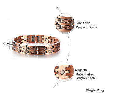 "Mens Elegant Pure Copper Magnetic Therapy Link Bracelet Pain Relief For Arthritis And Carpal Tunnel Male Jewelry 8.46"" - Mirage Novelty World"