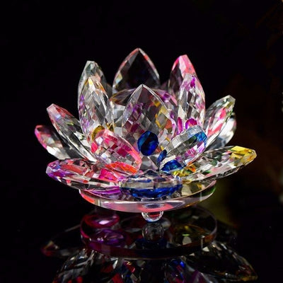 100mm Crystal Lotus Figurines In 8 Colors Glass Flower Miniatures Paperweight Crafts - Mirage Novelty World