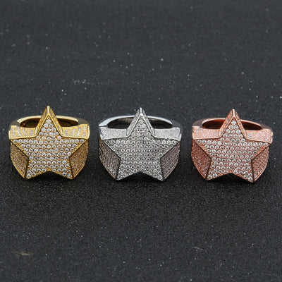 Five Point Star CZ Rings Puffed Marine Micro Paved Full Bling Iced Out Cubic Zircon Luxury Fashion Hiphop Jewelry Gift - Mirage Novelty World