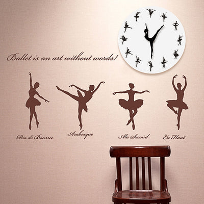 Brief Ballet Dancer Modern Design Wall Clock Charming Ballerina 3D Wall Clock Baby Girl Nursery Decor Unique Gift For Ballerina - Mirage Novelty World