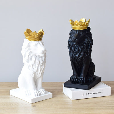 Modern Abstract Resin Lion King With Golden Crown Statue Ornaments - Mirage Novelty World