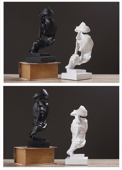 Nordic Style Resin Black and white Silent Statues Slience is gold Sculptures Figurine - Mirage Novelty World