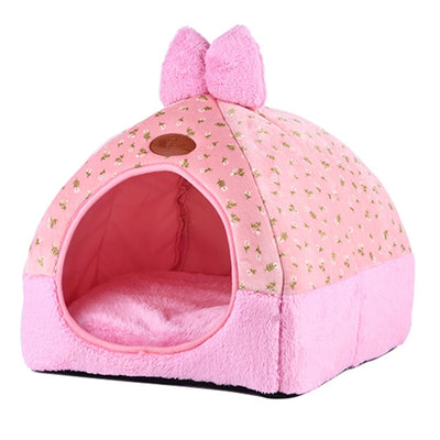 Cat Warm Cave Lovely Bow Design Puppy Winter Bed House Kennel Fleece Soft Nest for Dog cat - Mirage Novelty World