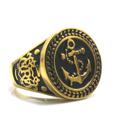 316L Stainless Steel Punk Gothic Cool Anchor Ring - Mirage Novelty World