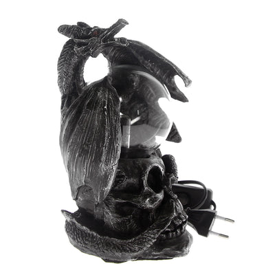Gothic Dragon On A Skull Head Statue With Electric Glass Horror Lighting Plasma Ball Lamp - Mirage Novelty World