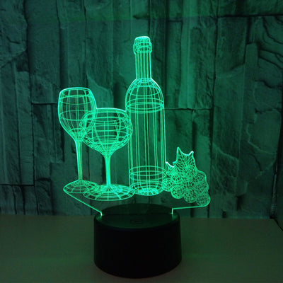 3d Illusion USB Atmosphere Wine Cup Bottle Table Lamp - Mirage Novelty World