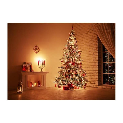Merry Christmas Theme Photography Background Cloth 190x50cm 3D Christmas Tree Candle Photo Studio Backdrop Wall Decor - Mirage Novelty World