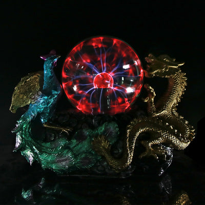 Dragon Phoenix Statue With Electric Glass Horror Lighting Plasma Ball Lamp - Mirage Novelty World