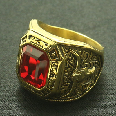 Cool Red Stone Ring Cowboy Rhinoceros Horn Men Boys 316L Stainless Steel Golden Ring Great Gift For Friend - Mirage Novelty World