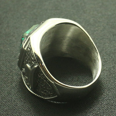 Cool Men Boys 316L Stainless Steel Silver Cowboy Hat Rhinoceros Horn Green Stone Ring Great Gift For Friend - Mirage Novelty World