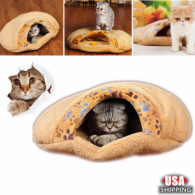 Winter Cute Warm Pet Cat Bed Small Dog House Cat Sleeping Bag - Mirage Novelty World