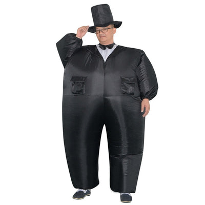 Inflatable Black Tuxedo Suit Fat Gentleman Fancy Dress Costumes for Women Man Adult - Mirage Novelty World