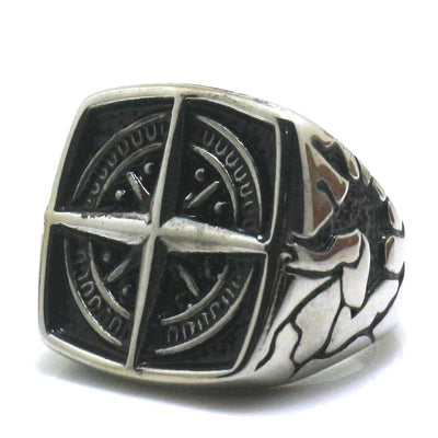 Men Boy 316L Stainle Steel Punk Gothic Cool Compass Silver Newest Hot Ring - Mirage Novelty World