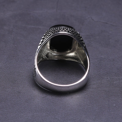 Jewelry Black Ring Men Light-weight 6g Real 925 Sterling Silver Mens Rings Natural Onyx Stone Vintage Cool Fashion - Mirage Novelty World