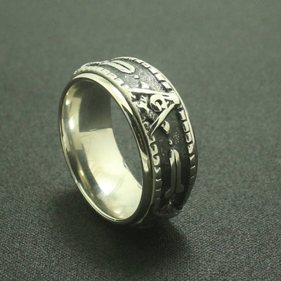 Mens Boys 316L Stainless Steel Silver Rotatable Freemasons Ring - Mirage Novelty World
