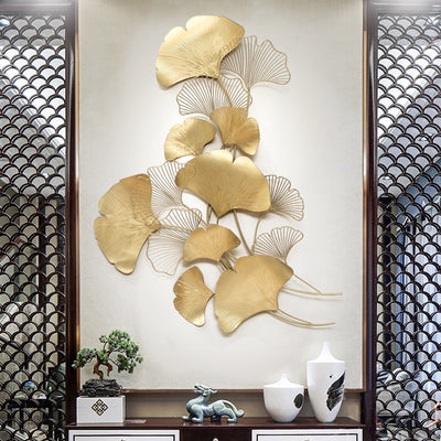 Modern Luxury Wrought Iron Ginkgo Leaf Pendant Crafts Wall Mural Decoration Home Background Wall Sticker - Mirage Novelty World