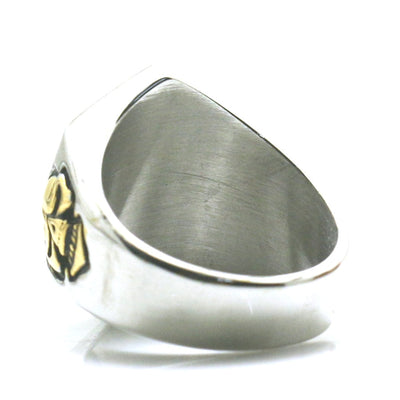 Mens Boys 316L Stainless Steel Cool Golden Silver Luck Number Newest Biker Ring - Mirage Novelty World