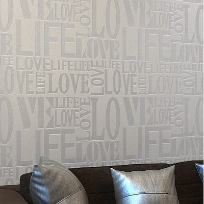 Purple/Gray/Pink/Yellow/White Flock Words Textured Letters Modern Wallpaper - Mirage Novelty World
